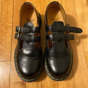 Black Leather Mary Janes